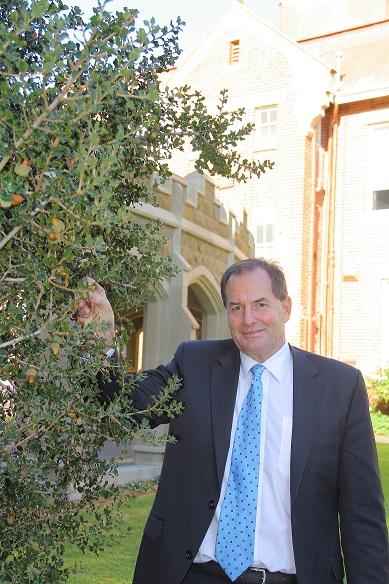 Simon Ramsay MLC, enjoying the Gallipoli Oak acorn harvest at Geelong Grammar